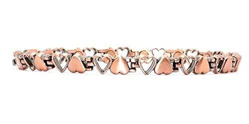 ProExl Copper Womens Magnetic Bracelet Hearts Vicenza 7.5