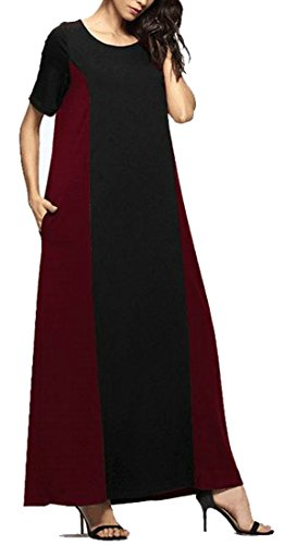 Fit Crewneck Dress Cromoncent Muslim Color Block Womens Loose Beach Maxi Red qnBEX