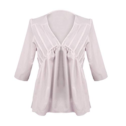 NCCIYAZ Womens T-Shirt Tops Plus Size Half Sleeve Solid Pleated Summer V-Neck Ladies Casual Blouse(XL(10),Pink)