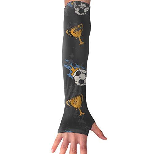 MASDUIH Flame Football Gloves Anti-uv Sun Protection Long Fingerless Arm Cooling Sleeve