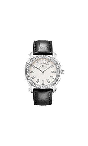 Charmex Women's EZE 31.5mm Black Leather Band Steel Case Sapphire Crystal Quartz White Dial Watch 6351