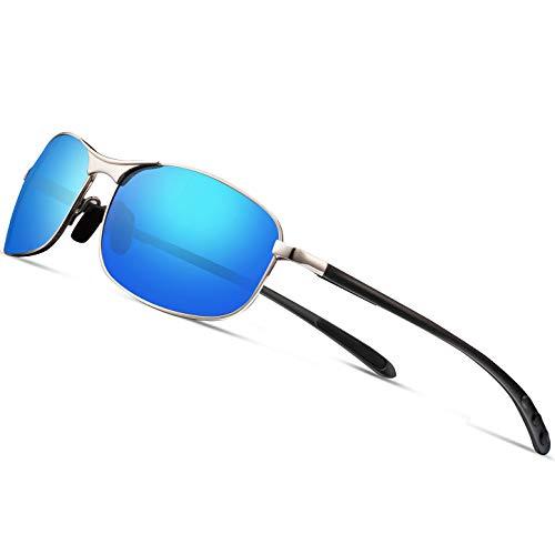 Polarized Sport Sunglasses for Men - Feirdio Mens Sunglasses Metal Frame 100% UV protection 2268 (blue) (Blue Lens Sunglasses Mens)