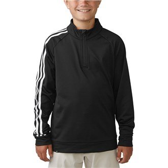 Juniors Pullover Stripe Sweater - Junior 2016 Adidas 3-Stripes Sleeve 1/4 Zip Pullover Training Kids Golf Sweater Black/White 14 Years