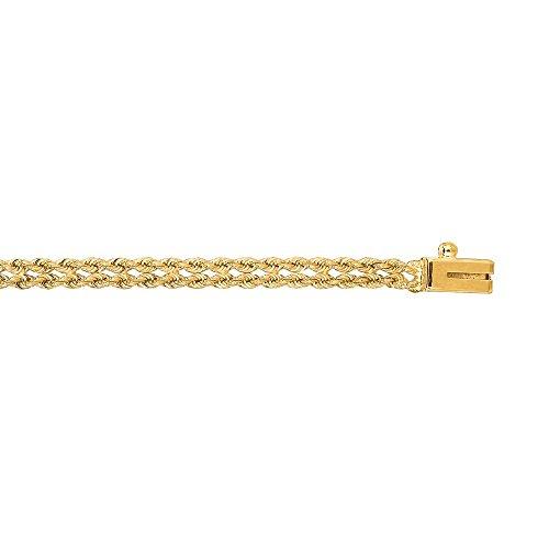 "Jaune 14 carats 3 mm et Double rangée de corde solide Bracelet-JewelryWeb 7 """