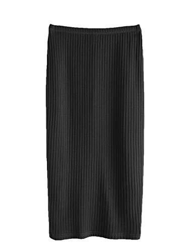 SheIn Women's Basic Plain Stretchy Ribbed Knit Split Full Length Skirt Black Large