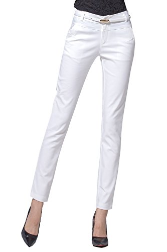 Women's Relaxed Fit Plain Front Straight Pants  White - Business Capri