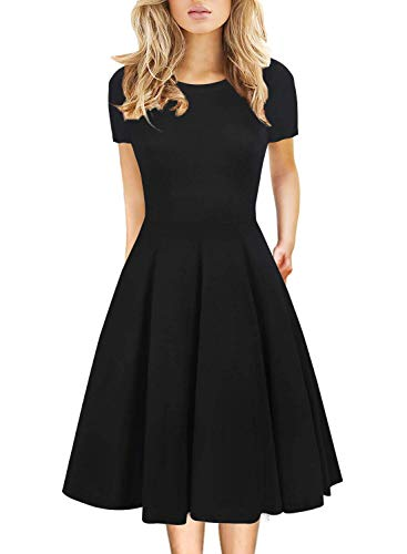 Prime Wardrobe Womens Clothing Little Black Dress Autumn Vintage Casual Round Neck Work Party A-Line Cotton Dress with Pockets 162 (M, Black Solid)