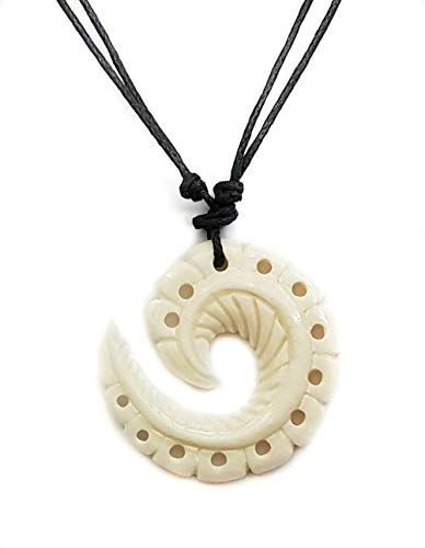 Swimmi Hand Carved Maori Bone Fish Hook Pendant 16 to 32 inch Adjustable Cord Necklace Jewelry ()