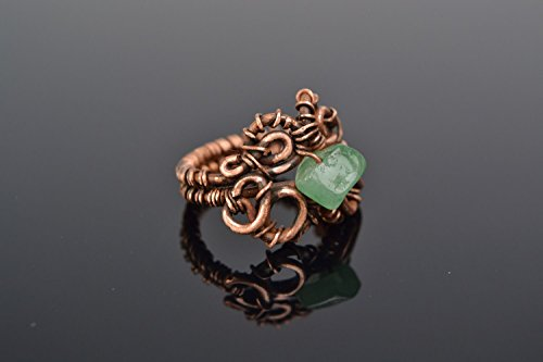 Handmade designer wire wrap copper ring with natural nephrite stone for women jewelry ideas