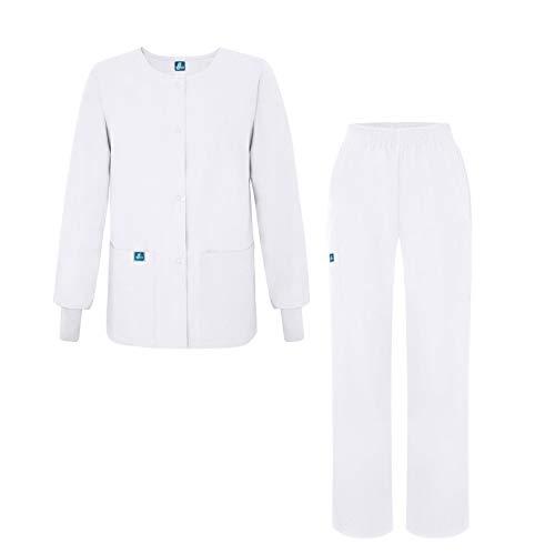 Adar Universal Women's Scrub Set - Warm-Up Scrub Jacket and Elastic Pull-On Pants - 902 - White - XL (Warmup White Pants)