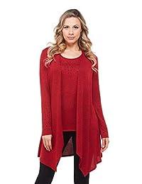 Plus Embellished Longline Cardigan RedHtr 2X