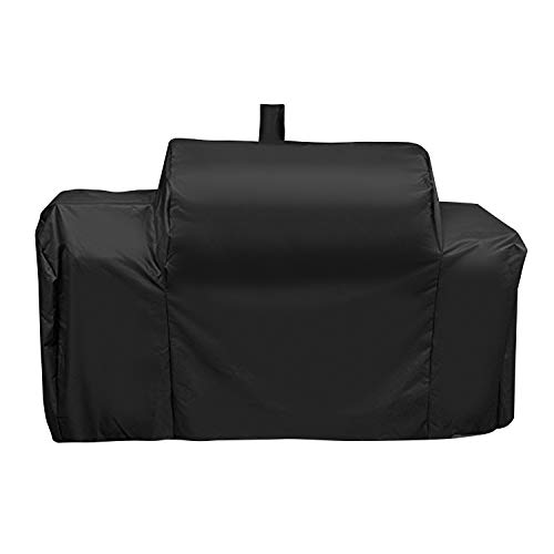 UNICOOK Heavy Duty Waterproof Grill Cover for Oklahoma Joe's Longhorn Combo Smoker, Outdoor Charcoal/Smoker/Gas Combo Grill Cover, Offset Smoker Cover, Fade and UV Resistant, Black (Oklahoma Joes Longhorn Combo Grill And Smoker)