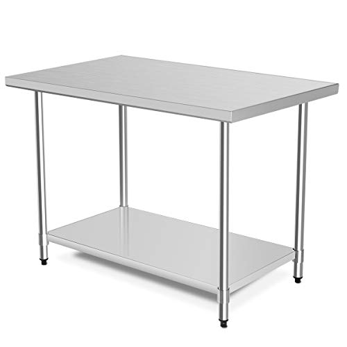 """48"""" x 30"""" NSF Stainless Steel Table, Heavy Duty Commercial Kitchen Food Prep Table & Work Table, Wheels Installable, Adjustable Shelf, by WATERJOY"""