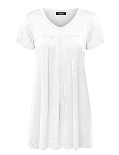 Made By Johnny MBJ WT1057 Womens V Neck Short Sleeve Pleats Tunic Top XXL White ()