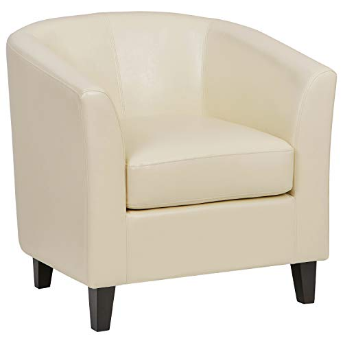"Ravenna Home Sherman Curved Faux Leather Accent Chair, 30.5""W, Beige"