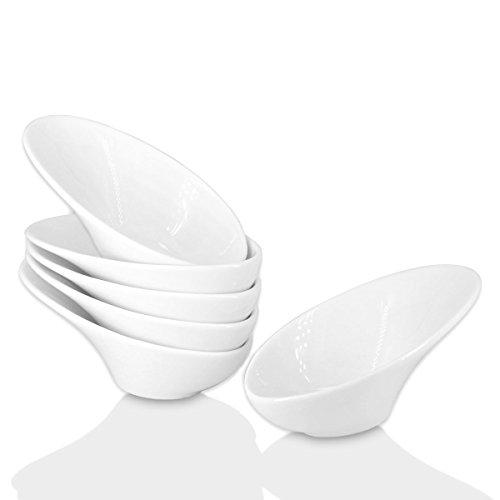 (Soy Sauce Dish - Dipping Bowls Set, White Porcelain Dipping Sauce Bowls/Dishes for Soy Sauce, Ketchup, BBQ Sauce or Seasoning- 1 Oz,Set of 6,D2)