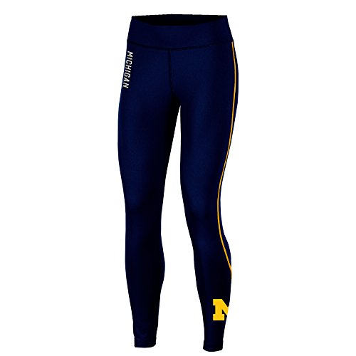 NCAA Michigan Wolverines Adult Women Fashion Fit Fitness Leggi, Large, Navy (Michigan Wolverine Pants)