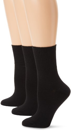 Hanes Women's Comfortsoft Cuff, Black, Shoe Size 5-9 (Pack of 3) from Hanes