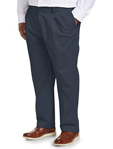Double Pleated Chino - Amazon Essentials Men's Big & Tall Loose-fit Wrinkle-Resistant Pleated Chino Pant fit by DXL, Navy, 44W x 32L