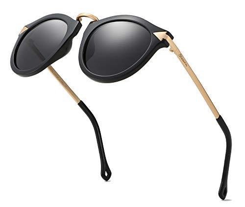 SLearn Women Polarized Sunglasses Arrow Oversized Cateye SL0N002(Black)