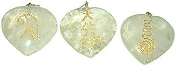 Jet International Cristal de cuarzo Reiki Maestro Corazón Colgante Conjunto de piedra Plano Curación genuina Energía positiva Amor Espiritual Divino Psíquico