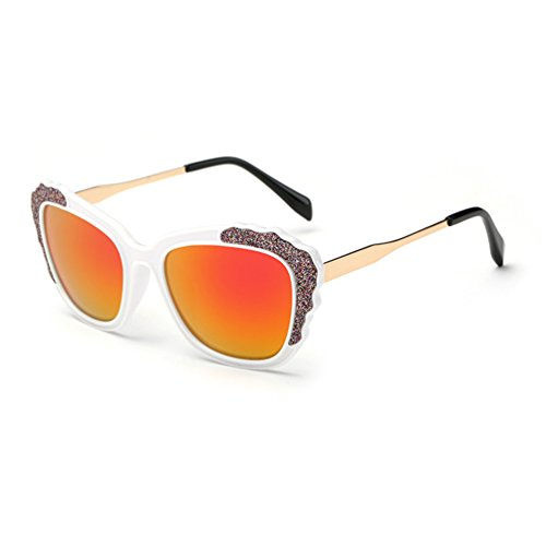Tansle Retro Sunglasses Diamond Frame Flat Matte Reflective Revo Color Lens Horn Rimmed Style - Style Sunglasses Welder