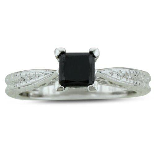 1ct Princess Cut Black Diamond Solitaire Antique Model Engagement Ring in Sterling Silver, Ring Sizes 5 to 8.5