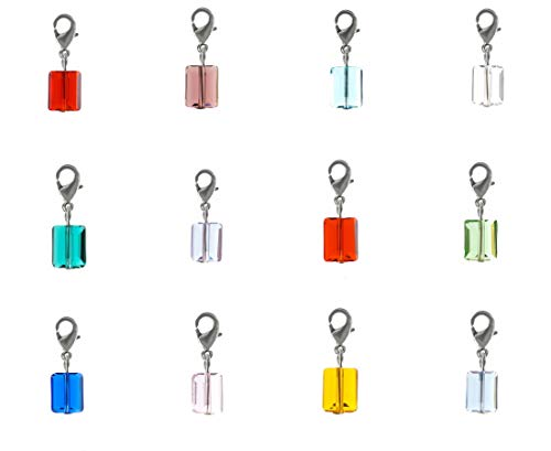 (1 set Clip On Charms Dangle Birthstone Charms 8mm Austrian Crystal Rectangle Beads (12pcs) for Jewelry Craft Making BL11)