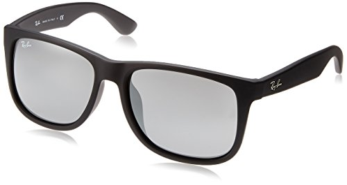 - Ray-Ban RB4165F Justin Rectangular Asian Fit Sunglasses, Black Rubber/Grey Mirror, 58 mm