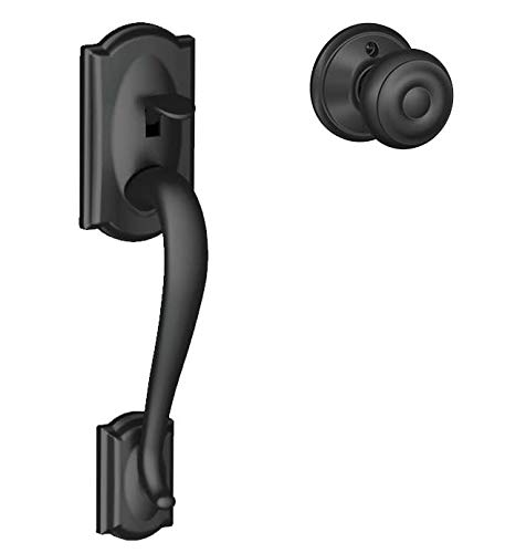 Schlage FE285 Camelot By Georgian Bottom Half Handleset with 16080 Latch and 10063 Strike Matte Black Finish ()