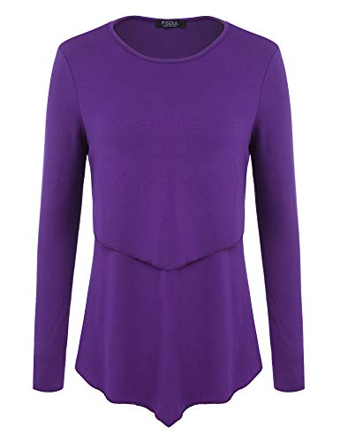 Blouse Blend (FISOUL Womens Tunic Tops Long Sleeve Flowy Shirts Ruffles Hem Double Layer Blouses)