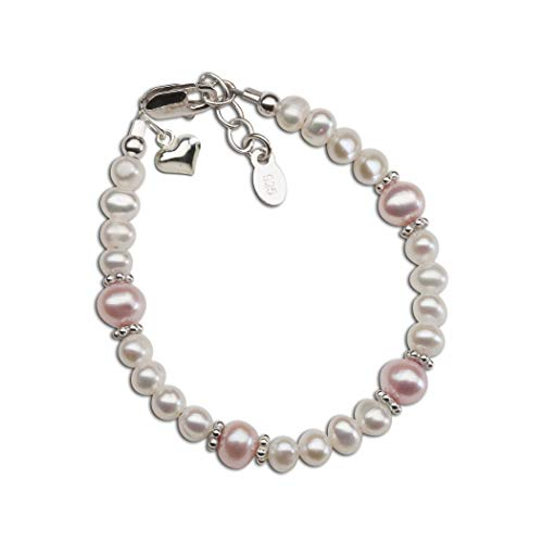 - Children's or Baby Sterling Silver Bracelet with Pink and White Cultured Pearls and Heart Charm