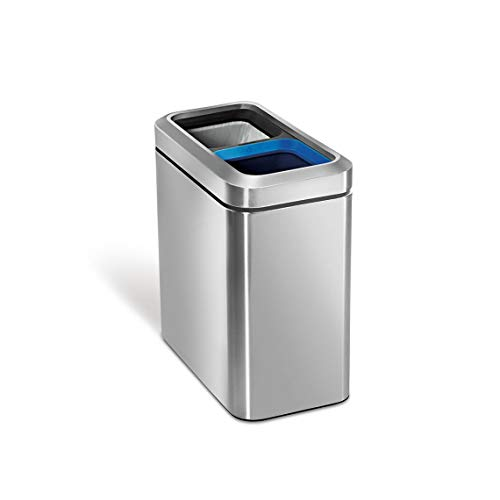 simplehuman 20 Liter / 5.3 Gallon Commercial Stainless Steel Slim Open Trash Can Dual Compartment, Brushed Stainless Steel