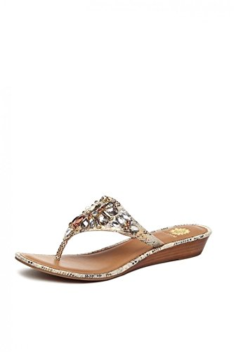 50f448d8c25345 Image Unavailable. Image not available for. Color  Yellow Box Women s  Odette Crystal Embellished Thong Wedge Sandal ...