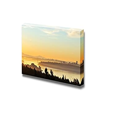 Canvas Prints Wall Art - Downtown Vancouver and Lions Gate Bridge at Winter Sunrise, Viewed from Cypress Mountain Lookout - 32