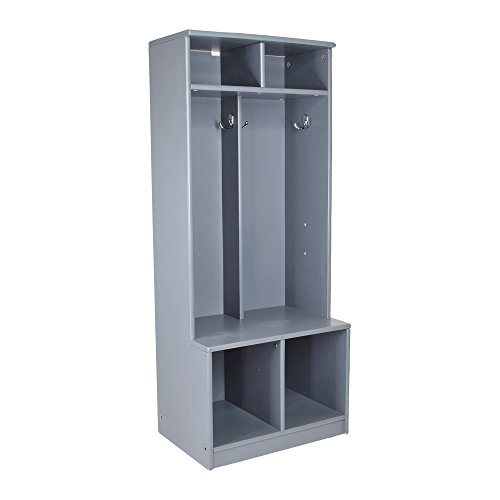 Little Partners Two Cubby Kids Wooden Locker - Six Storage Sections - Durable Construction (Earl Grey)