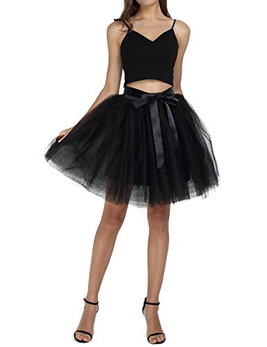 Halloween Costume Ideas For Couples Pinterest (Women's Above Knee High Waist Tutu Tulle Skirt Adult 7 Layers Dance Petticoat)