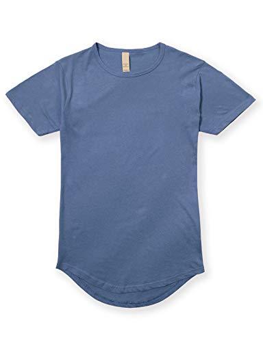 JD Apparel Men's Hipster Longline Drop Cut T-Shirts XS Shale Blue - Mens Round Neck