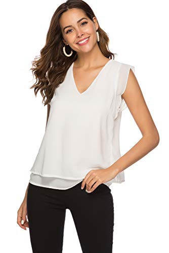 Alice CO Women's Summer Chiffon Cap Sleeve V-Neck Layered Blouse Shirts Casual Flowy Tank Tops (X-Large, White)
