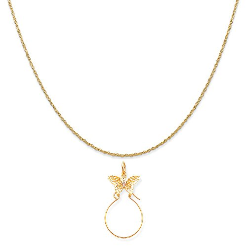 Mireval 10k Yellow Gold Filigree Butterfly Charm Holder on 14K Yellow Gold Rope Chain Necklace, 20