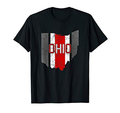 State of Ohio Pride Striped Graphic Design Clothing T-Shirt