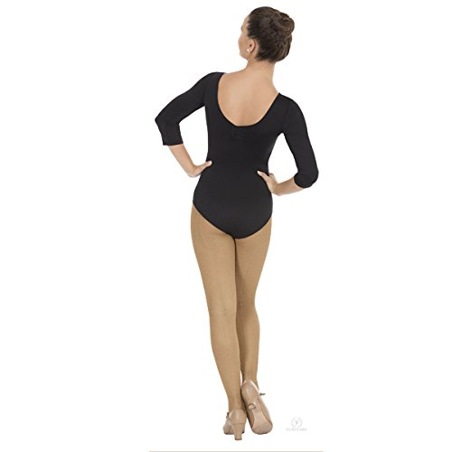 Eurotard 4408 Adult Pinch Front and Back 3/4 Sleeve Leotard (Black, - Leotard Sleeve 3/4 Adult