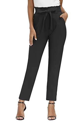 Yidarton Womens Cropped Pants Paper Bag Waist Self-tie Belted Pants Casual Trousers with Pockets (Yellow Pants, Medium)