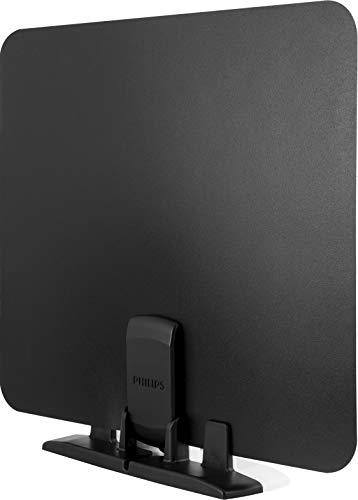 Philips HD Switch Indoor TV Antenna, Perfect Home Decor, Digital, HDTV Antenna, Smart TV Compatible, 4K 1080P VHF UHF, Coaxial Cable, Reversible Black White Design, SDV2226N/27