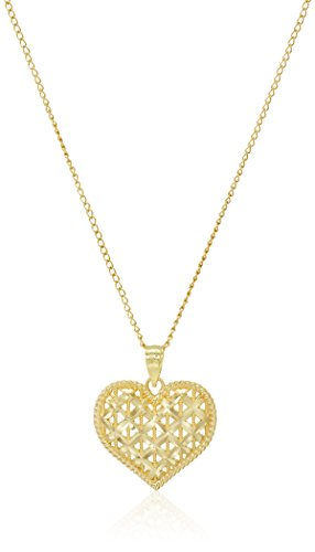 - 14k Yellow Gold Diamond Cut Heart Pendant Necklace, 18
