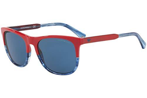 Emporio Armani EA4099 Sunglasses Red Transparent Striped Blue w/Blue Lens 557380 EA 4099