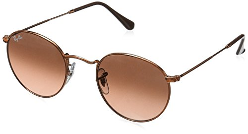 (Ray-Ban RB3447 Round Metal Sunglasses, Shiny Light Bronze/Pink Gradient Brown, 50 mm)