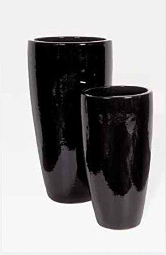 Blumenübertopf Partner aus Keramik, sonnen- und regenbeständig für Innen und Außen, Farbe Schwarz glänzend Ø 36cm Höhe 70cm