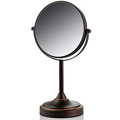 Ovente Tabletop Makeup Mirror, 7 Inch, Dual-Sided 1x/7x Magnification (Antique Bronze)