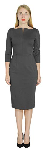 (Marycrafts Women's Work Office Business Square Neck Sheath Midi Dress 12 Slate Black)